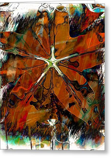 Copper Green Greeting Cards - Autumn Leaves Greeting Card by Amanda Moore