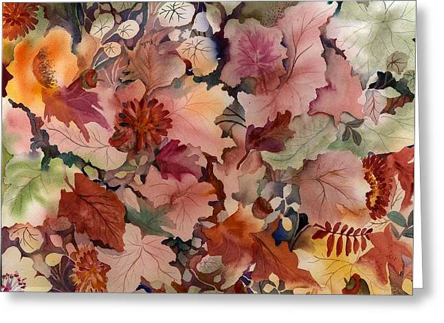 Autumn Leaves And Flowers Greeting Card by Neela Pushparaj