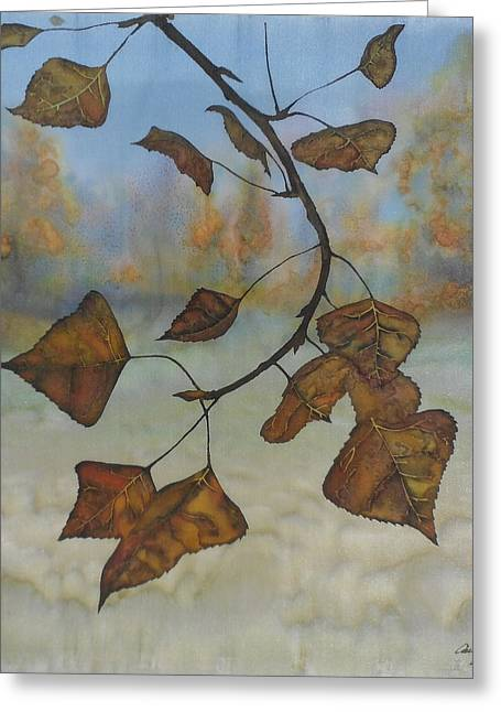 Silk Art Tapestries - Textiles Greeting Cards - Autumn Leaves Greeting Card by Carolyn Doe