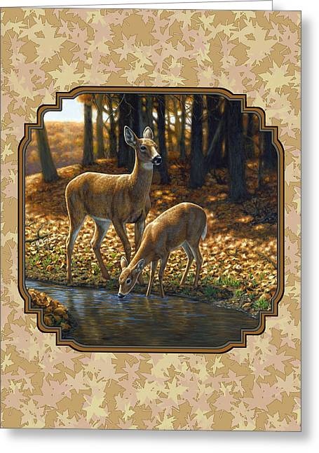 White-tail Deer Greeting Cards - Autumn Leaves Doe and Fawn Pillow and Duvet Cover Greeting Card by Crista Forest
