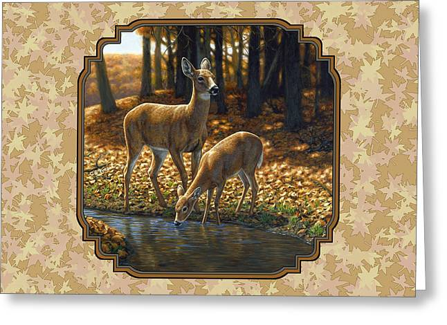 Whitetailed Deer Greeting Cards - Autumn Leaves Doe and Fawn Pillow and Duvet Cover Greeting Card by Crista Forest