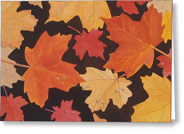 Dewdrops Paintings Greeting Cards - Fallen Autumn Leaves Greeting Card by Elaine Jones
