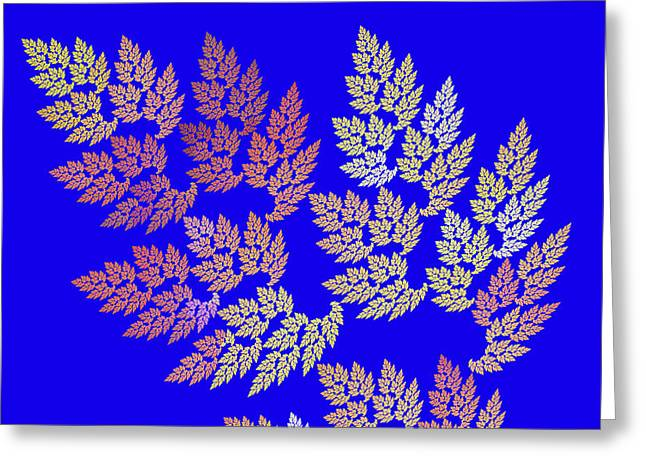 Yellow Leaves Greeting Cards - Autumn Leaves Fractal On Blue Background Greeting Card by Keith Webber Jr