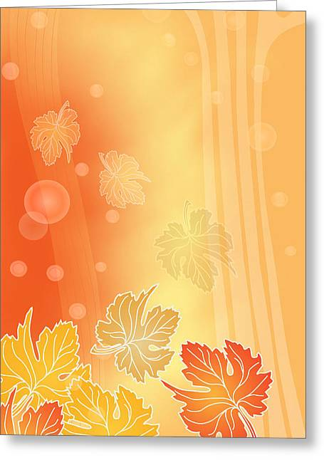Abstract Digital Mixed Media Greeting Cards - Autumn Leaves Greeting Card by Gayle Odsather