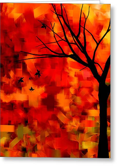 Red Maple Trees Greeting Cards - Autumn Leaves Greeting Card by Lourry Legarde