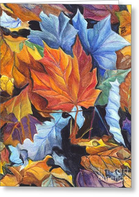 Earth Tones Drawings Greeting Cards - Autumn Leaves of Red and Gold Greeting Card by Carol Wisniewski