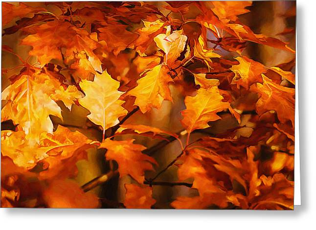 Autumn Prints Greeting Cards - Autumn Leaves oil Greeting Card by Steve Harrington
