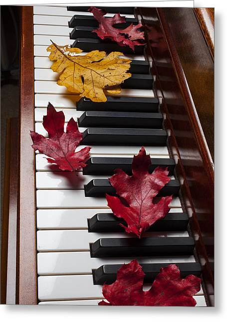 Playing Musical Instruments Greeting Cards - Autumn leaves on piano Greeting Card by Garry Gay