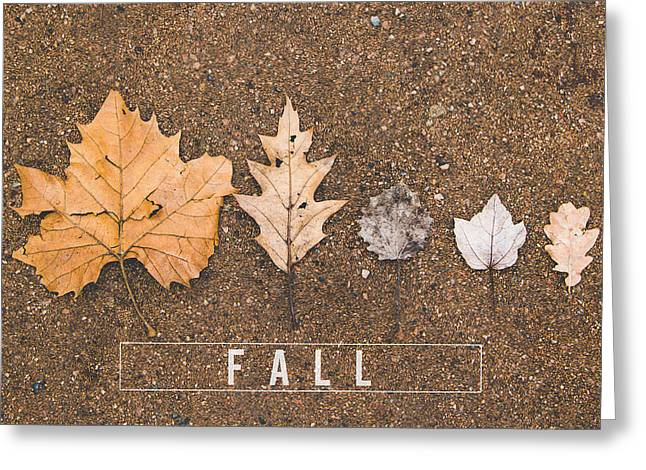 Autumn Leaves On The Ground Greeting Card by Aldona Pivoriene