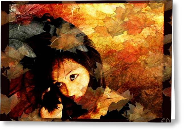 Autumn Leaves Whirling Greeting Card by Gun Legler