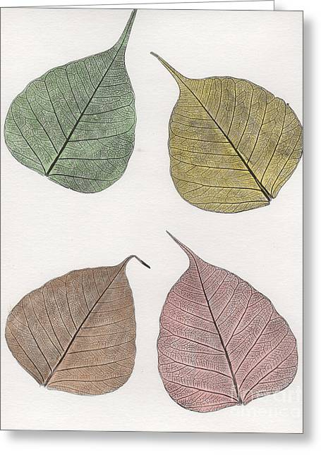 Fallen Leaves Reliefs Greeting Cards - Autumn Leavs Greeting Card by Suzette Broad