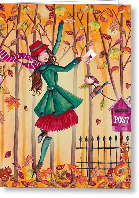 Thanks Giving Greeting Cards - Autumn Letter Greeting Card by Caroline Bonne-Muller