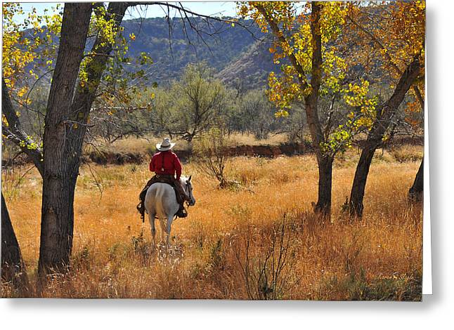 The Fall Of The Cowboy Greeting Cards - Autumn Light Greeting Card by Karen Slagle