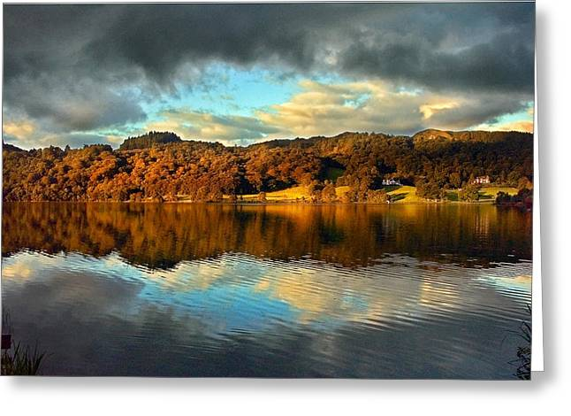 Pink Black Tree Rainbow Photographs Greeting Cards - Autumn Light on Lake Grasmere Greeting Card by Adrian Campfield