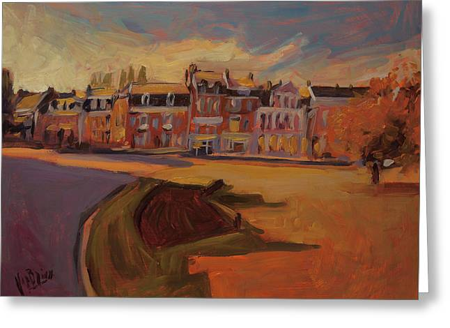 Autumn Light Over The Queen Emma Square Maastricht Greeting Card by Nop Briex
