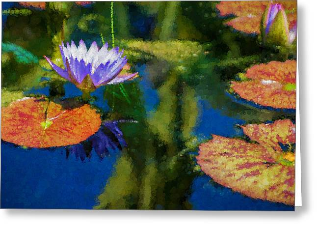 Lilly Pads Greeting Cards - Autumn Lily Pad Impressions Greeting Card by Georgia Mizuleva