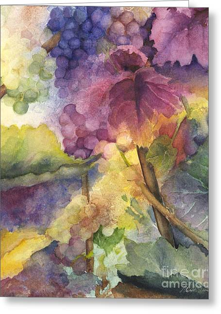Grapes On Vine Greeting Cards - Autumn Magic I Greeting Card by Maria Hunt
