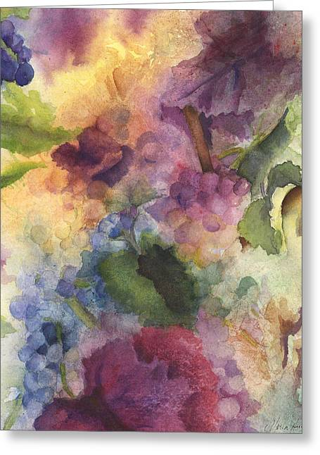 Grapevines Paintings Greeting Cards - Autumn Magic II Greeting Card by Maria Hunt