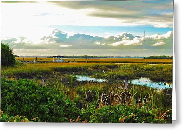 Gazebo Wall Art Greeting Cards - Autumn Marsh - Sullivans Island Greeting Card by Paulette B Wright