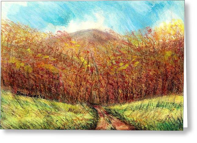Fall Scenes Drawings Greeting Cards - Autumn Meadow Greeting Card by Shana Rowe