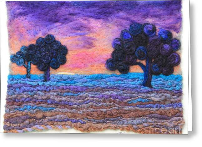Violet Blue Tapestries - Textiles Greeting Cards - Autumn Meadow Sunset Greeting Card by Michelle Bowers