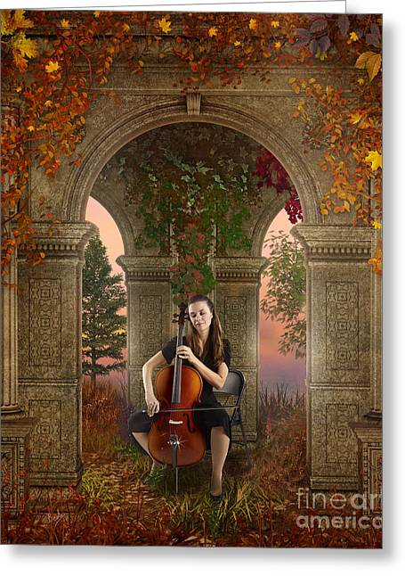 Fall Grass Mixed Media Greeting Cards - Autumn Melody Greeting Card by Bedros Awak