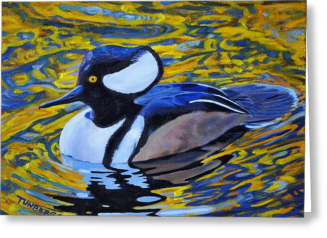 Wildlife Refuge. Paintings Greeting Cards - Autumn Merganser Greeting Card by Gail Tunberg