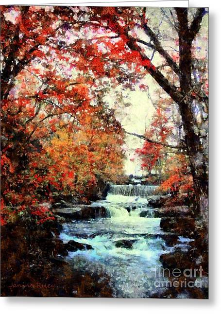 Red Leaves Mixed Media Greeting Cards - Autumn Mill Falls Greeting Card by Janine Riley