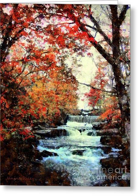 Pa Mixed Media Greeting Cards - Autumn Mill Falls Greeting Card by Janine Riley