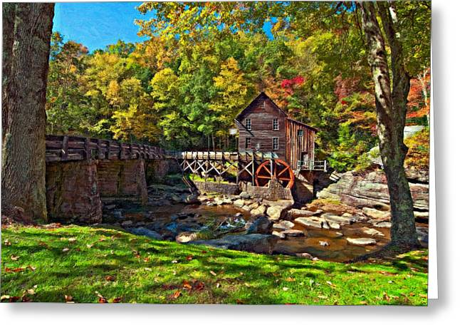 Grist Mill Digital Art Greeting Cards - Autumn Mill impasto Greeting Card by Steve Harrington