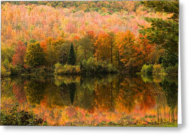 """autumn Foliage New England"" Greeting Cards - Autumn mirror reflection Greeting Card by Jeff Folger"