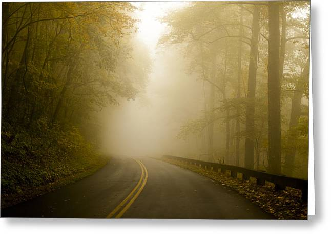 Autumn Prints Greeting Cards - Autumn Mist Blue Ridge Parkway Greeting Card by Terry DeLuco