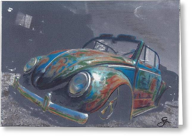 Vw Beetle Pastels Greeting Cards - Autumn Mist Greeting Card by Sharon Poulton