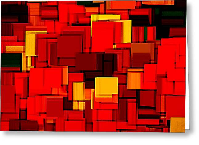 Carmine Greeting Cards - Autumn Modern Abstract XV Greeting Card by Lourry Legarde