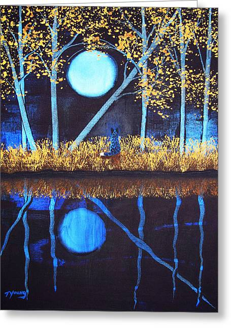 Blue Heeler Greeting Cards - Autumn Moon Greeting Card by Todd Young