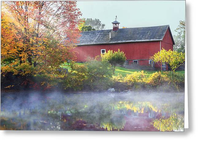Old Barns Greeting Cards - Autumn Morn Greeting Card by Bill  Wakeley