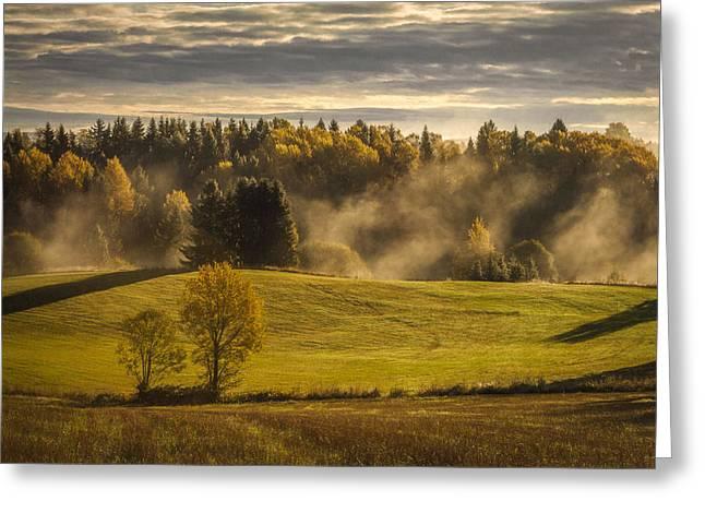 Autumn Art Greeting Cards - Autumn Morning Greeting Card by Erik Brede