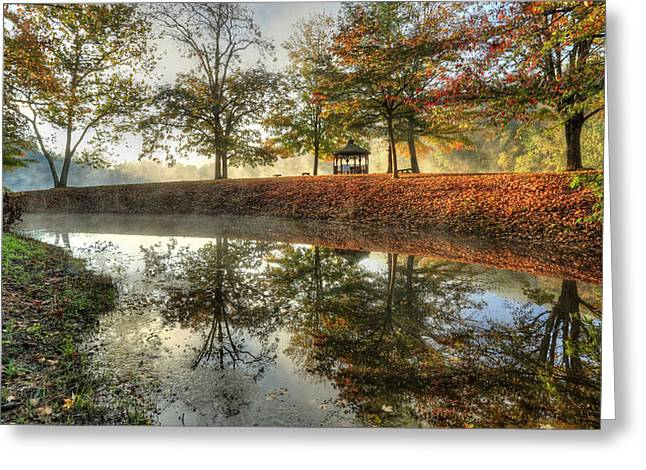 Fog Rising Greeting Cards - Autumn Morning Greeting Card by Jaki Miller