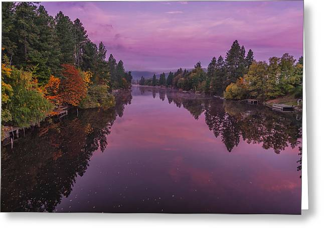 Spokane Greeting Cards - Autumn Morning on Spokane River Greeting Card by Michael Gass