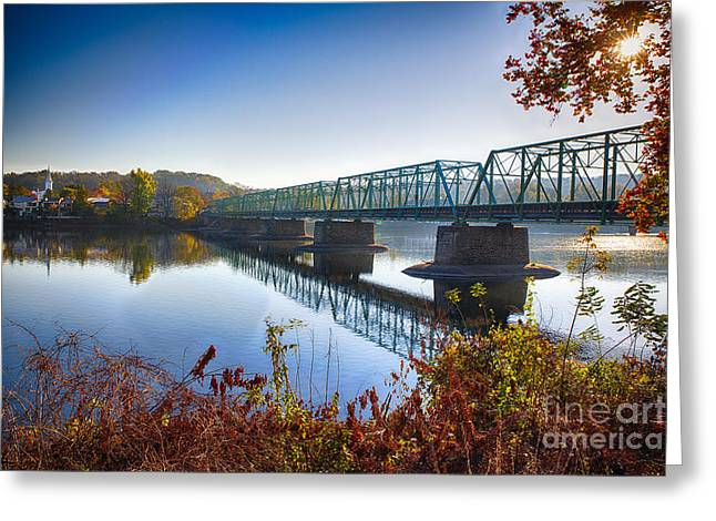 Hunterdon County Greeting Cards - Autumn Morning View of the New Hope Lambertville Bridge  Greeting Card by George Oze