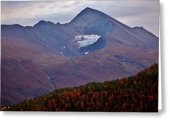 Norwegian Sunset Greeting Cards - Autumn Mountain Glow Greeting Card by David Broome