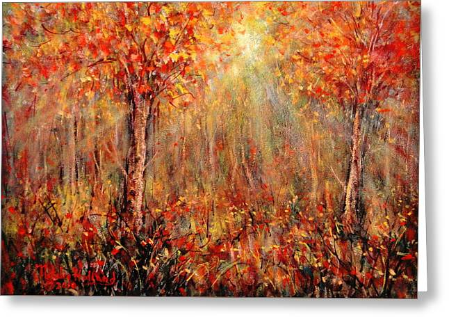 Sun Rays Paintings Greeting Cards - Autumn Greeting Card by Natalie Holland