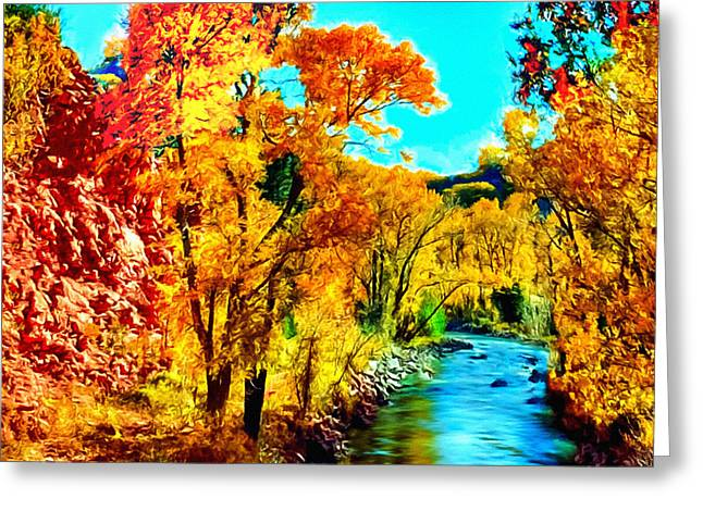Oak Creek Greeting Cards - Autumn Oak Creek Sedona Arizona Greeting Card by  Bob and Nadine Johnston