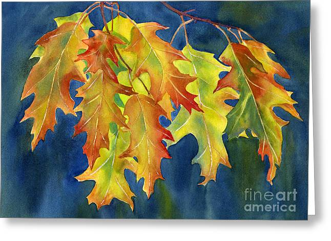 Autumn Oak Leaves  on Dark Blue Background Greeting Card by Sharon Freeman