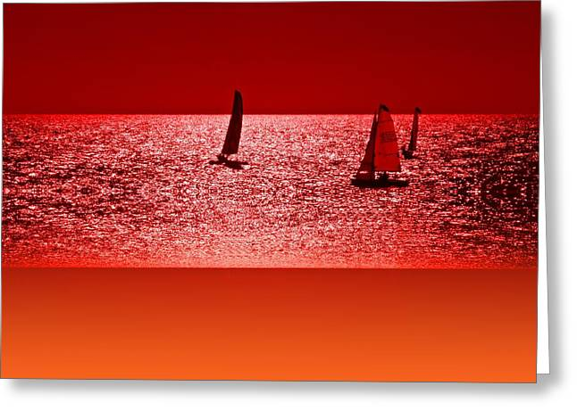 Yatch Greeting Cards - Autumn Ocean 2 Greeting Card by Sharon Lisa Clarke