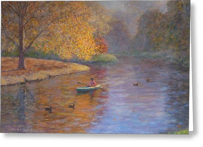 Terry Perham Paintings Greeting Cards - Autumn On Avon NZ. Greeting Card by Terry Perham