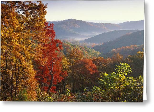 Photos Of Autumn Greeting Cards - Autumn On Blue Ridge Range Near Jumping Greeting Card by Tim Fitzharris