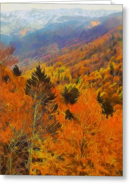 Asheville Mixed Media Greeting Cards - Autumn On Fire In The Mountains Greeting Card by Dan Sproul