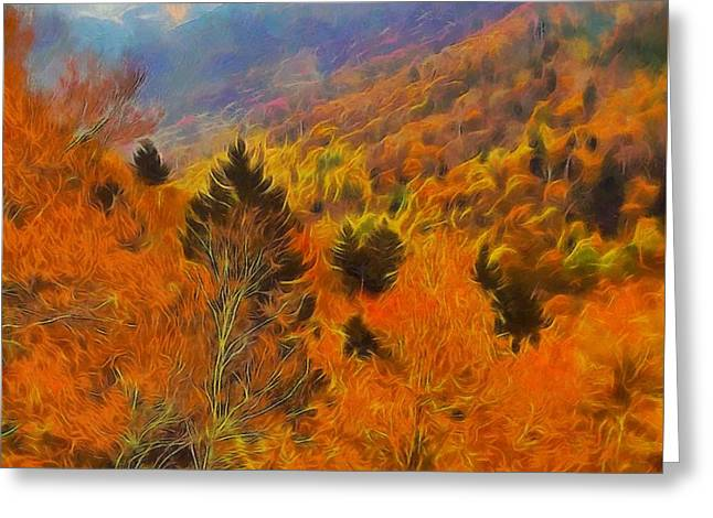 Gatlinburg Tennessee Mixed Media Greeting Cards - Autumn On Fire In The Mountains Greeting Card by Dan Sproul