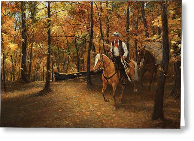 Trail Ride Greeting Cards - Autumn on Greensfelder Trail Greeting Card by Don  Langeneckert